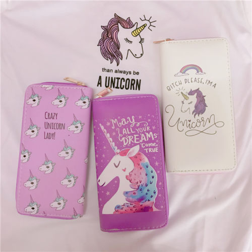 Lovely cute unicorn print wallet long zis