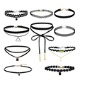 4PCS-10Pcs/set Sexy Velvet Tattoo Lace Gothic Punk Necklace Choker With Triangle Pendant Jewelery for Women Collar Collier