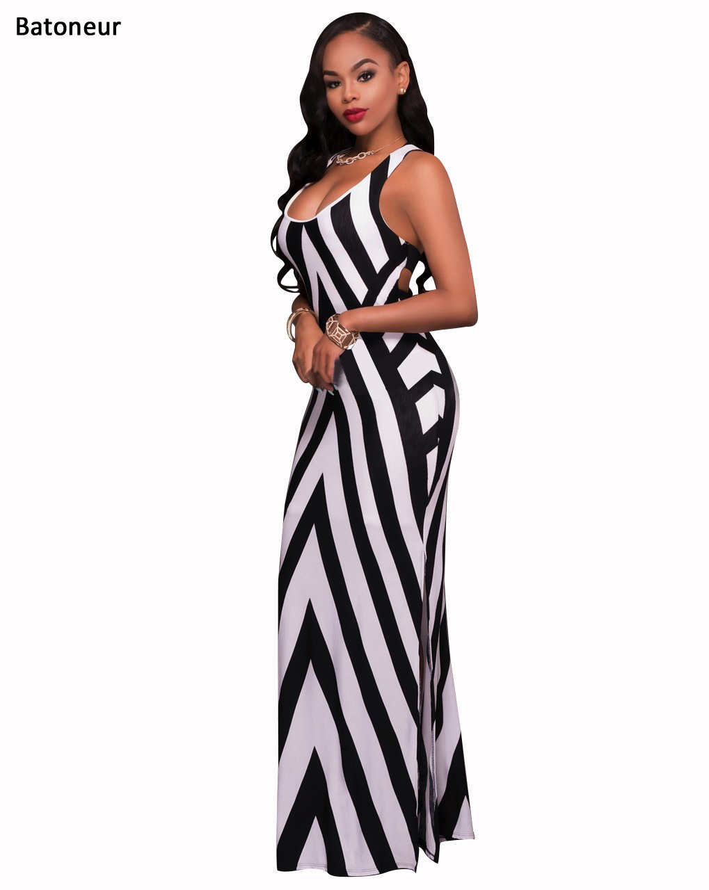 Aliexpress.com : Buy Batoneur Women Long Maxi Black White Striped ...