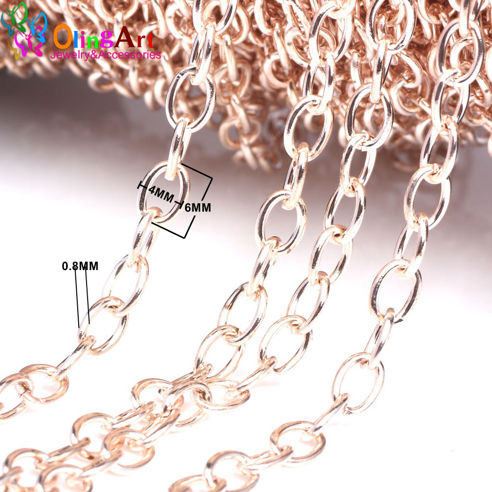 OlingArt 3M/lot 6MM Rose Gold/Gold/Silver/bronze Color Plated Oval Shape Cross Link Chains DIY Jewelry Accessories making rose gold plated oval ribbon necklaces anti allergic