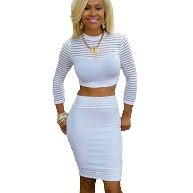 Plus size white two piece dress