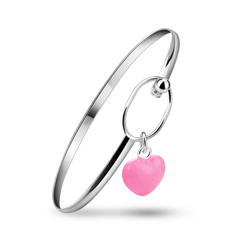 Lovely silver fashion simple selling 925 sterling silver bracelet solid silver heart pendant women jewelry, free shipping