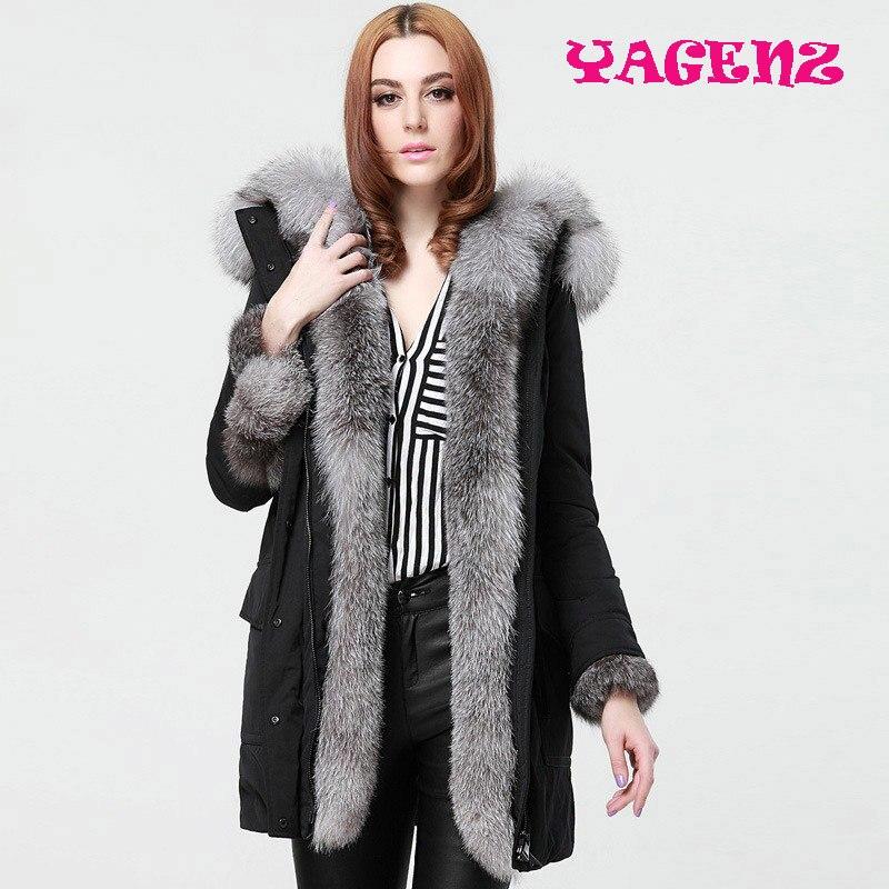 2019 зимняя натуральная лисица Меховая куртка пальто женское модное пальто из натурального меха Длинные парки черная парка Уличная Повседне