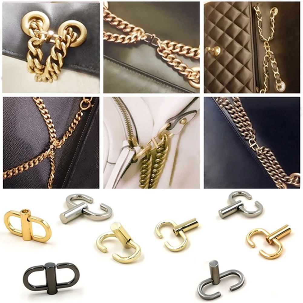 Adjustable Metal Buckle Bag Chain Strap Belts Length Shorten Shoulder Crossbody Bags Buckle Silver Chain Buckle Accessories New