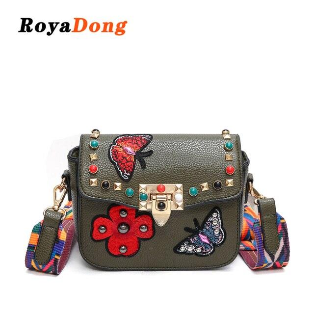 0b916ed52 RoyaDong 2019 mujeres bolsas de hombro solapa de cuero de la Pu bolso para  niñas Color