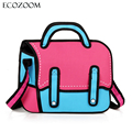 Fashion Women 2D Cartoon Messenger Bags Girls Designer 3D Drawing Comic Handbag Female Shoulder Bag Ladies Crossbody Bag