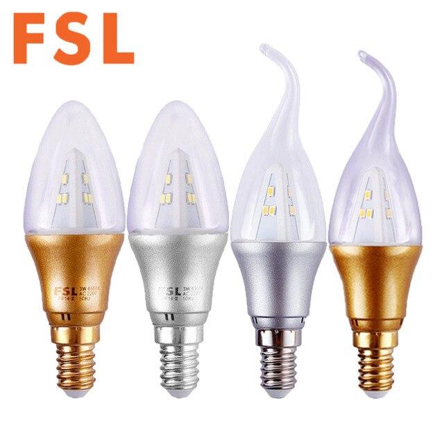 FSL E14 220V 3W LED Bulb Golden Silver Candle Light Chandelier