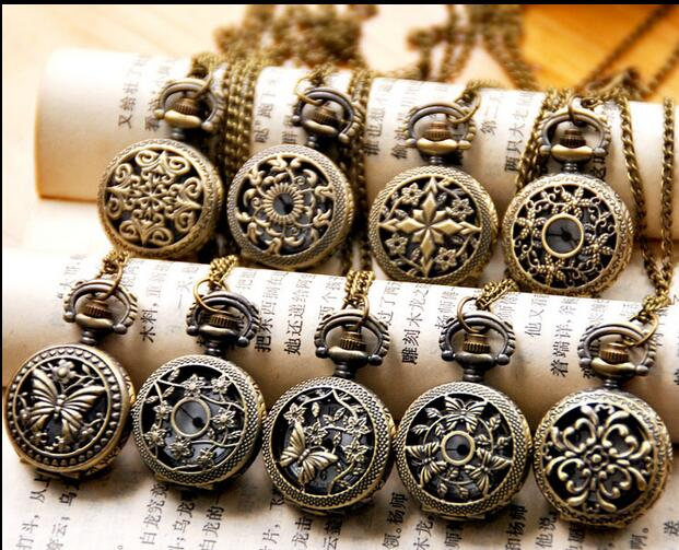 Wholesale 12 Pca/lot Vintage Bronze Small Flower Pocket Watch Necklace, 12 Design Mixed Gift