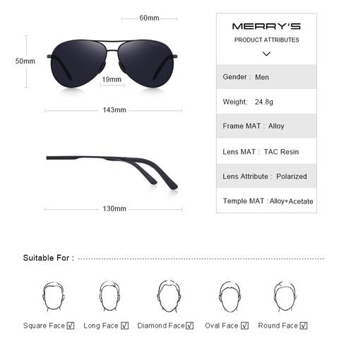 MERRYS DESIGN Men Classic Pilot Polarized Sunglasses Men Driving Shield Night Vision Sun glasses UV400 Protection S8601 Karachi