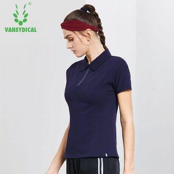 Kobiety koszule golfowe z krótkim rękawem sportowa koszulka polo pół zamek błyskawiczny szybkie suche szkolenia tenis bieganie Jogging topy odzież sportowa Plus rozmiar tanie i dobre opinie WOMEN spandex COTTON vansydical Oddychające Pasuje mniejszy niż zwykle proszę sprawdzić ten sklep jest dobór informacji