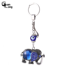 Hot Sale Antique Silver Blue Rhinestone Elephant Pendant Keyring Women Metal Keychain For Bag Accessories