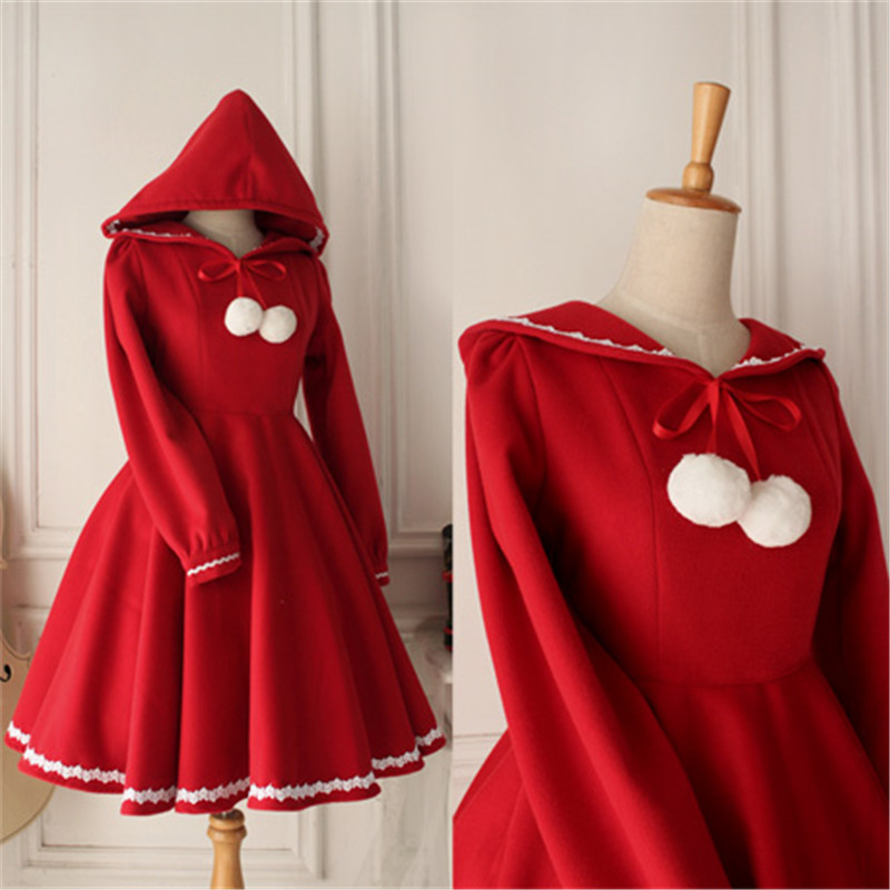 Little Red Riding Hood - Retro Lovely Red Long Sleeved Wool Dress Christmas Autumn Winter Coat O