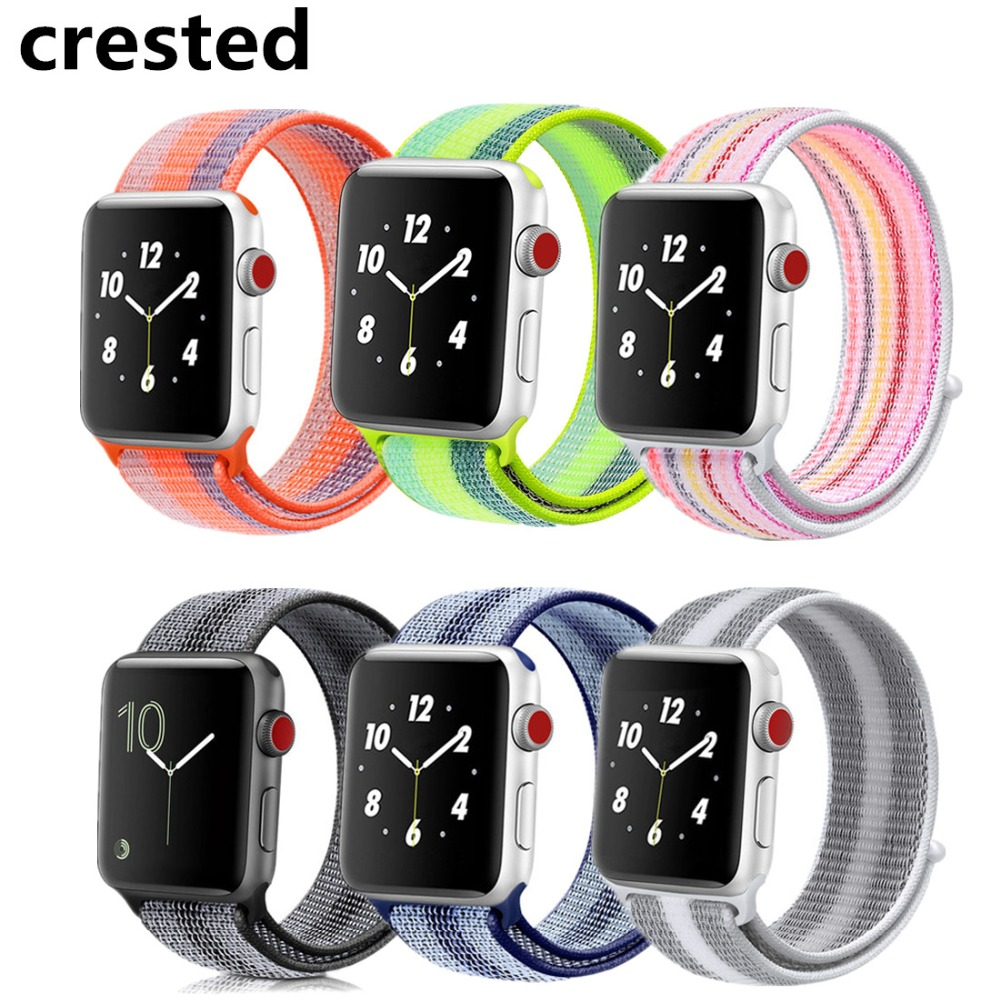 CRESTED Sport Loop for Apple Watch Band 42mm 38mm nylon bands iWatch 3/2/1 Bracelet Belt Woven Nylon Breathable Lightweigh Strap