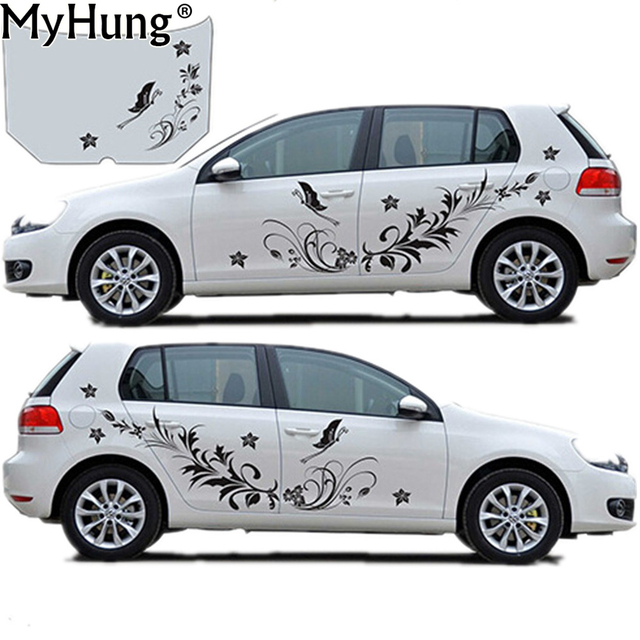 Car body stickers for cars natural flower vine dragonfly shape whole decals vinyl sticker car