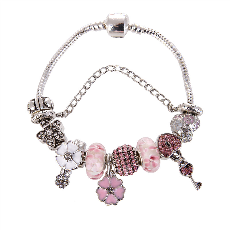 High Quality Pink crystal Heart Pendant Cute Pretty Charm Bracelet Pandora Bracelet For Women Gril gift jewelry Drop Shipping