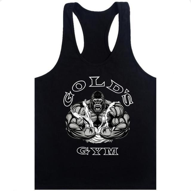 Fashion Golds Tank Top Men Sleeveless Shirt Bodybuilding Fitness Men's Cotton Singlets Muscle Clothes Workout Vest B-28