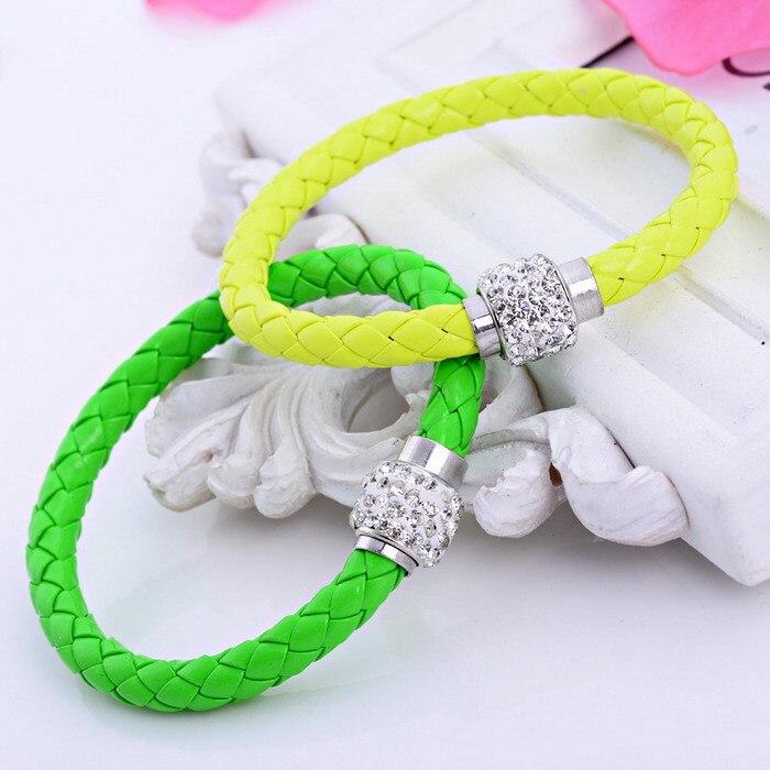 20pcs/lot free ePacketship 2015 Mix 12colors Pu Leather shamballa Bracelet Crystal Ball Braided Fireball Magnetic Clasp bracelet