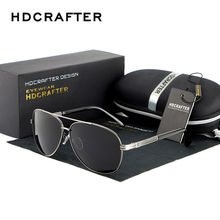 HDCRAFTER Classic Men's Polarized Sunglasses Metal Frame Yurt Driving Mirror Sunglasses Fishing Sun Glasses