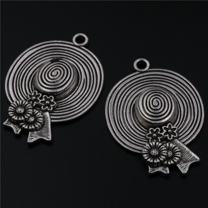 4pcs Antique silver vintage retro straw hat series alloy pendants for necklace earrings DIY charm jewelery findings A523