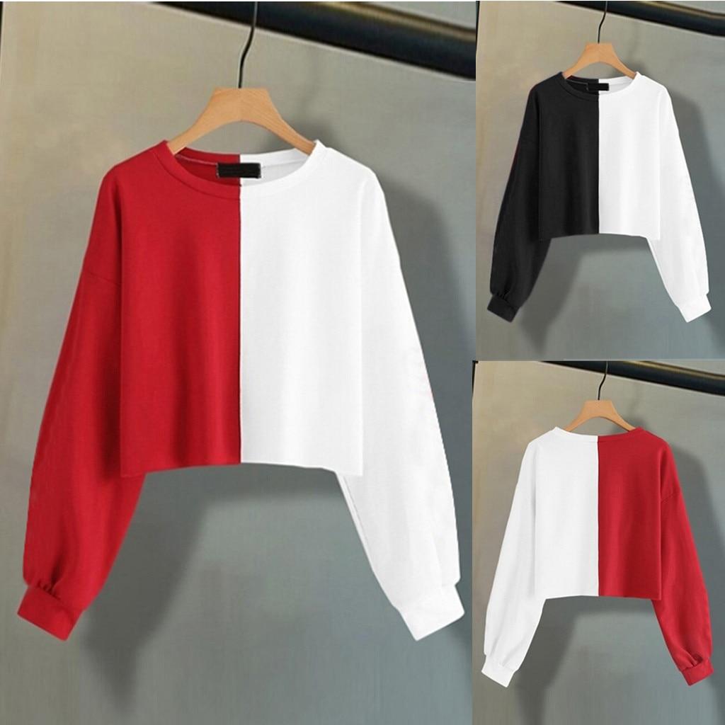 Womens Sweatshirt 2019 Womens Solid Long Sleeve Splice Sweatshirt Short Pullover Hooded Tops Blouse Fashion Ladies Hoodies