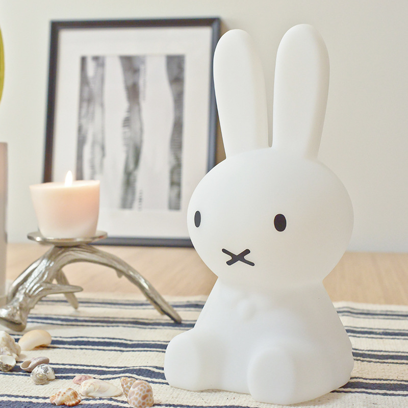 Cute Rabbit LED Night Light Dimmable Baby Children Holiday Gift Toy Animal Cartoon Decorative Bedside Bedroom Living Room Lamp