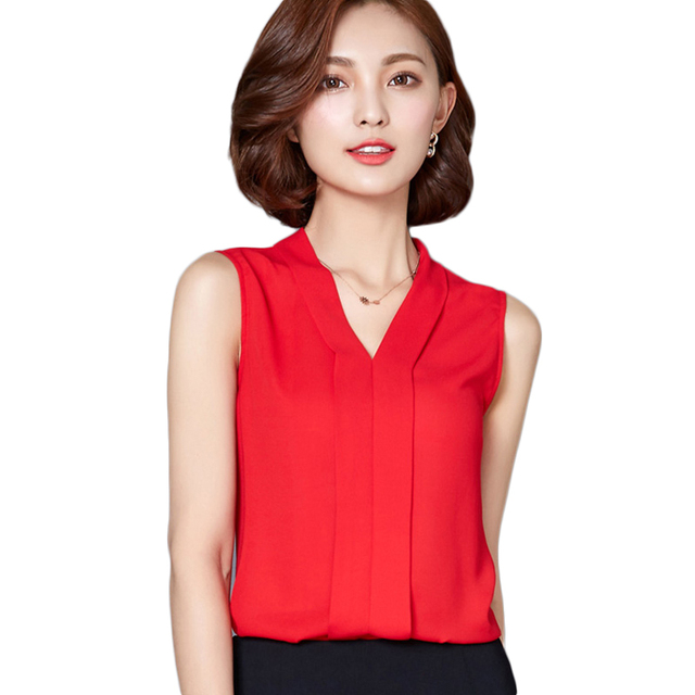 7924adaca9 2017 New Chiffon Blusas Summer Casual Sexy Blouse Women V Neck Tops  Sleeveless Red Shirt Ladies Solid Blouses For Women G735