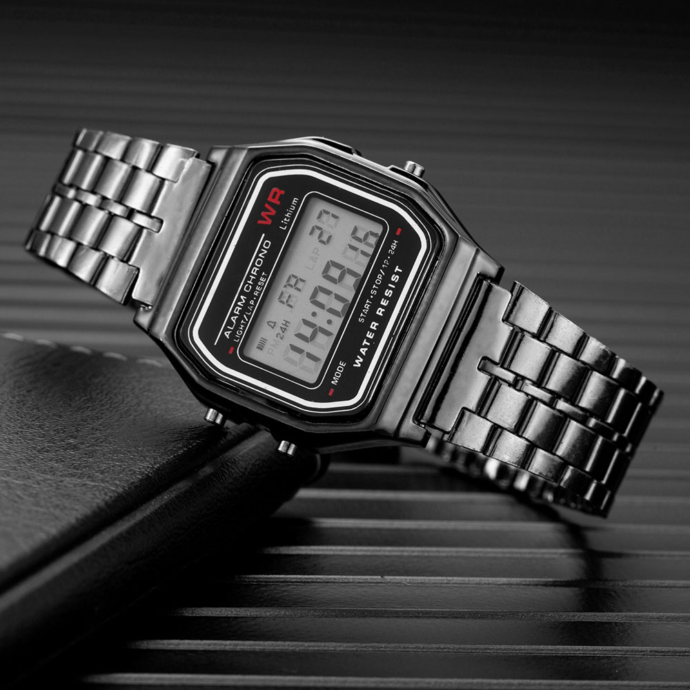 Luxury Watch Rose Gold Silver Men Women Unisex Clock Led Digital Steel Band Wrist Watch Hombre Watch Reloj Mujer Erkek Kol Saati
