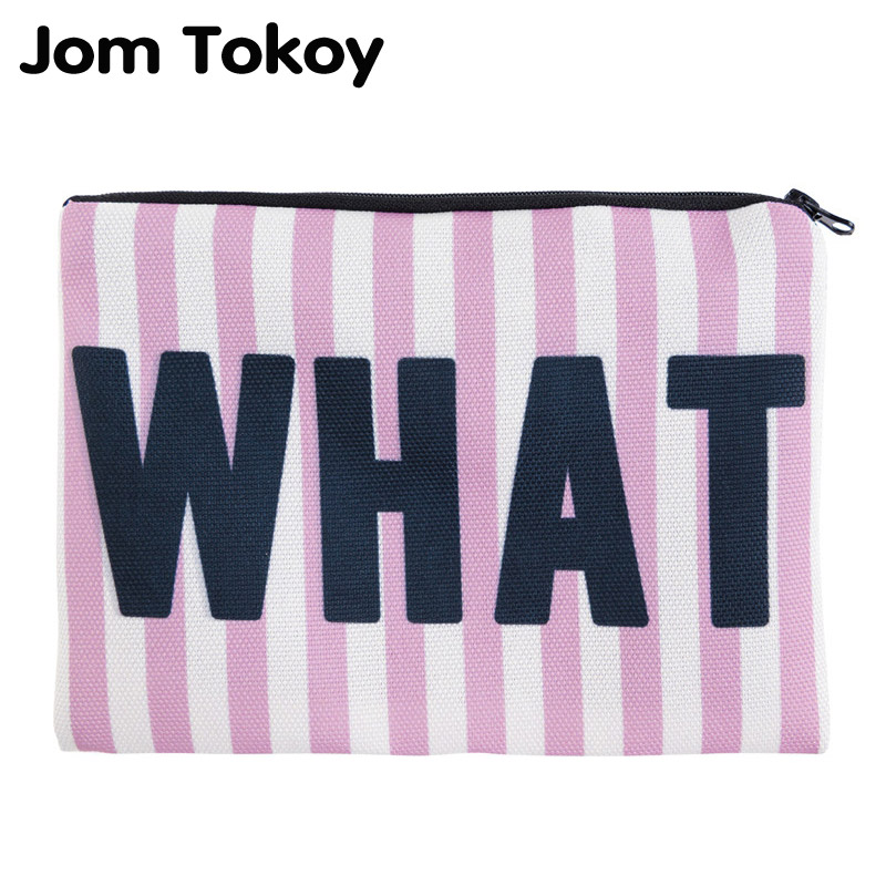 Jom Tokoy Simple Square Cosmetic Bags 3D Printed Whatever Pink Stripes Makeup Polyester Travell