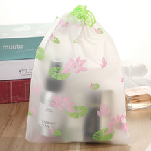 Fashion Flower Lotus Transparent Cosmetic Bag Travel Zipper Make Up Case Organizer Storage Makeup Pouch Toiletry Beauty Wash Box(China)