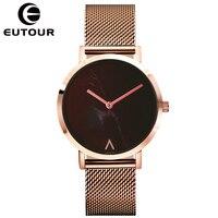 EUTOUR 시계 여성 패션 간단한 숙녀 시계 로즈 골드 석영 시계 여성