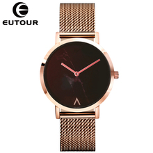 EUTOUR Watch Women Fashion Simple Ladies Watch Rose Gold Quartz Clock Women Marble Waterproof Ultra Thin Ladies Wrist Watches fashion women wrist watch marble surface stainless steel band quartz movement rose gold simple ladies fashion dress wristwatches