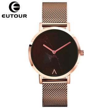 EUTOUR Watch Women Fashion Simple Ladies Watch Rose Gold Quartz Clock Women Marble Waterproof Ultra Thin Ladies Wrist Watches дамски часовници розово злато