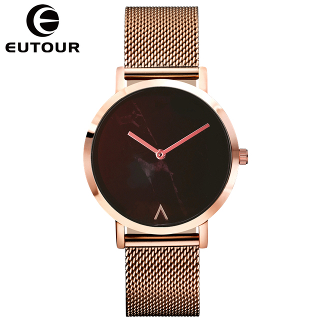 EUTOUR Watch Women Fashion Simple Ladies Watch Rose Gold Quartz Clock Women Marb