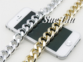 1yds Silver & Lt Gold Tone Chunky Aluminium Curb Chain K5002 - Loop Size: 19x22mm, thickness: 5mm Aluminum, 1yds=0.9M=36inch=3ft