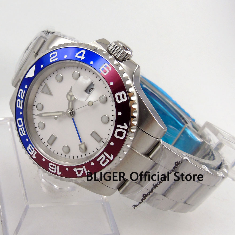 Sapphire Crystal BLIGER 43MM White Sterile Dial Blue Red Bezel GMT Function Luminous Automatic Movement Mens Wrist Watch B149Sapphire Crystal BLIGER 43MM White Sterile Dial Blue Red Bezel GMT Function Luminous Automatic Movement Mens Wrist Watch B149