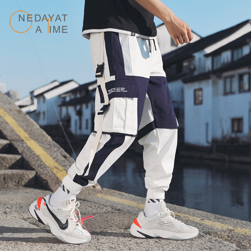 Men's Multi Pockets Cargo Harem Pants Hip Hop Casual Male Track Pants Joggers Trousers Fashion Harajuku Hipster Streetwear Pants