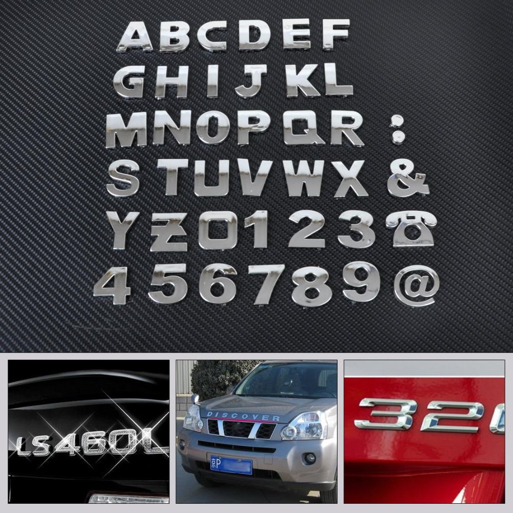 40pcs/set DIY Chrome ABS Alphabet letter Number Symbol Emblem Badge Decals sticker For Mercedes Audi Nissan VW Ford Toyota Honda