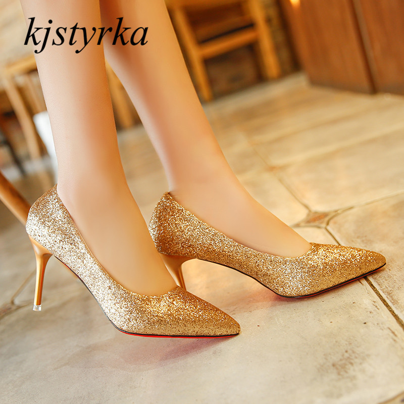 kjstyrka 2018 Ladies Thin High Heels Banquet Spring Pumps Sexy Red Bottom bling glitter Women party wedding Shoes zapatos mujer 2016new fashion sole red bottom high heels sexy women shoes pointed toe black red nude pumps wedding party ladies zapatos mujer