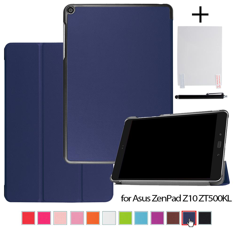Case for ASUS ZenPad Z10 ZT500KL 9.7 Tablet Magnetic Stand PU Leather Cases Cover + Screen Protector Film + Stylus