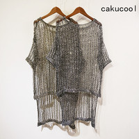 Cakucool Women Gold Lurex Knit Long Pullover Sexy Hollow Out Holes Net Tees Bling Loose See