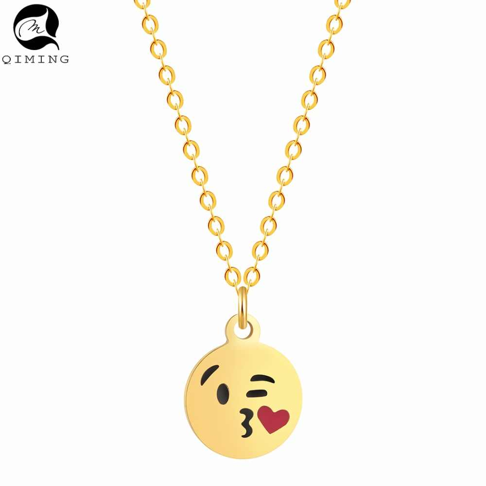 Silver Gold Heart Love Emoji Kiss Necklace Women Christmas Gift Vintage Jewelry Choker Necklace for Women Bijoux