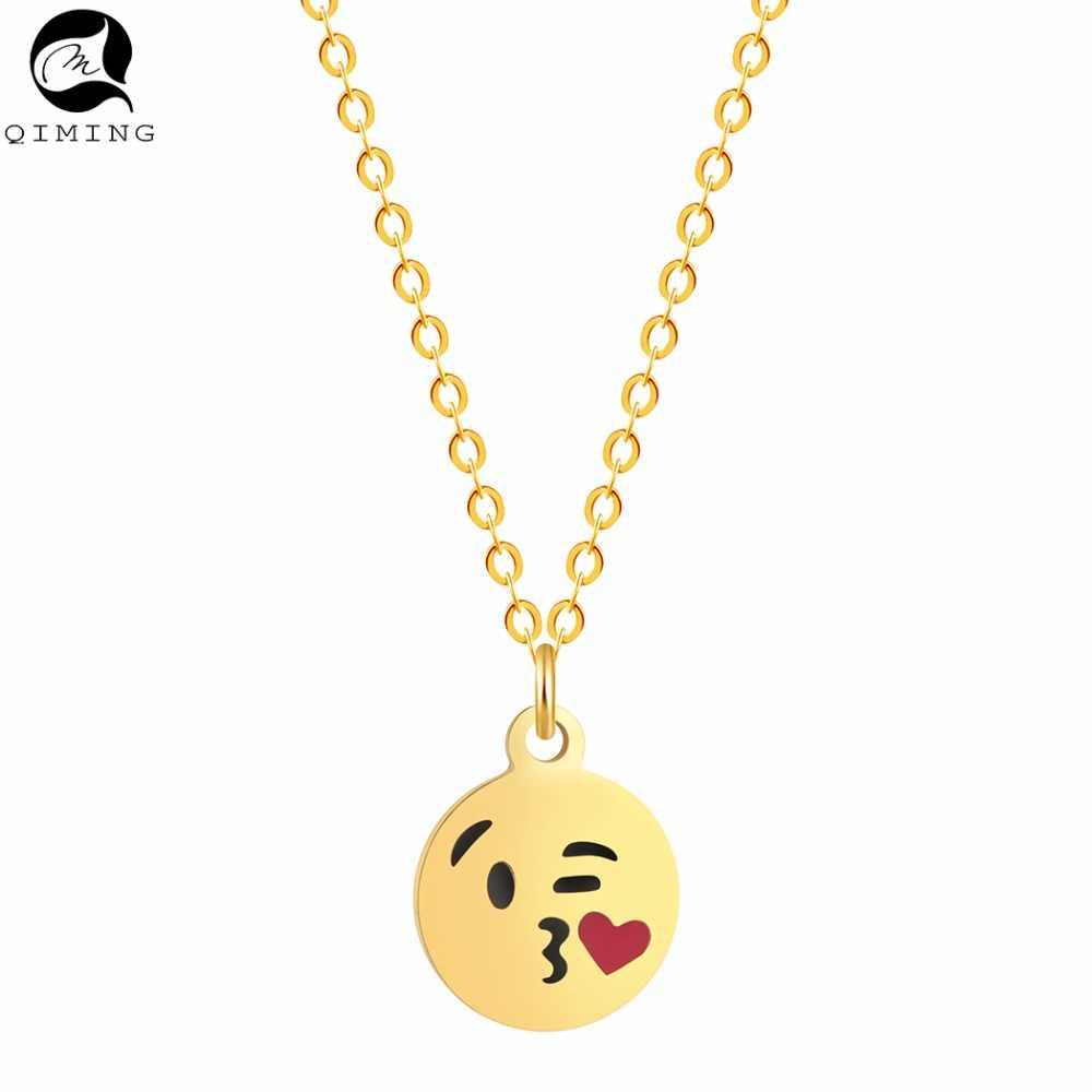 Silver Gold Heart Love Emoji Kiss Necklace Women Christmas Gift Vintage Jewelry Choker Necklace for Women Bijoux
