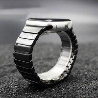 TEAROKE Luxury Ceramic Watchband For Apple Watch 38mm 42mm Butterfly Buckle Chain Style Bracelet With Adapters