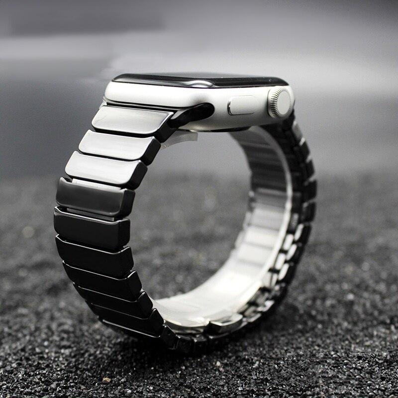 TEAROKE lujo cerámica para reloj de Apple 38mm 42mm mariposa hebilla cadena estilo pulsera banda con adaptadores para iwatch