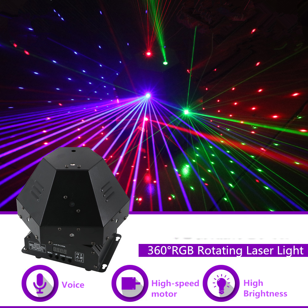 Mini 360 Degree Rotating RGB Beam Gobo Laser Effect Lights DMX DJ Party Disco Home Club Show Professional Stage Lighting Q-360R 3 lens rgb full color scan beam line pattern laser lights dmx sound auto dj party home show bar club stage lighting effect h 3 p