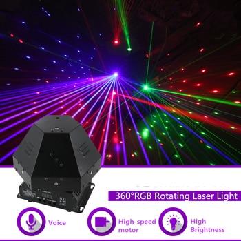 Mini luces de efecto láser Gobo RGB giratorias de 360 grados DMX DJ fiesta Disco Home Club Show iluminación de escenario profesional Q-360R