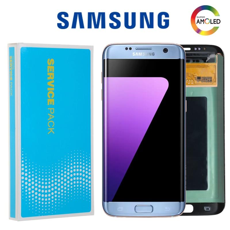 SUPER AMOLED 5 5 Burn shadow LCD For Samsung Galaxy S7 Edge Display With Frame G935F