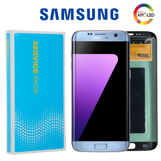 "SUPER AMOLED 5,5 ""quemar sombra de LCD para Samsung Galaxy S7 Pantalla de borde con marco G935F G935FD pantalla LCD digitalizador de montaje"