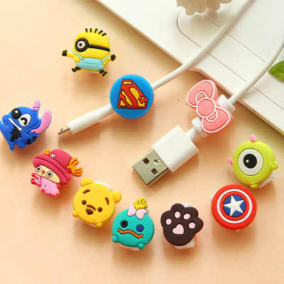 Selectable Cartoon USB Cable Earphone Protector headphones line saver For Mobile phone charging line data cable protection