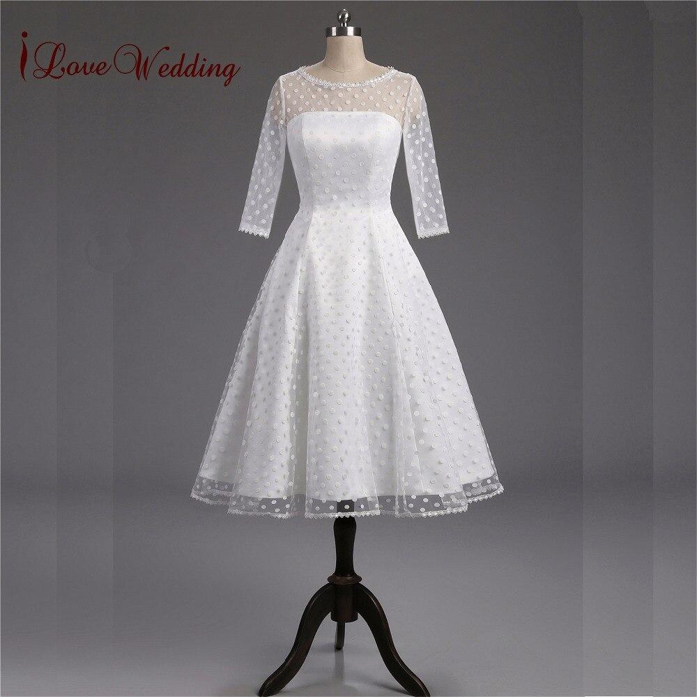100% Real 1950s Retro Polka Dotted Short Wedding Dress Knee-Length Little White Dresses Vestidos de Novia Custom Made Bride Gown